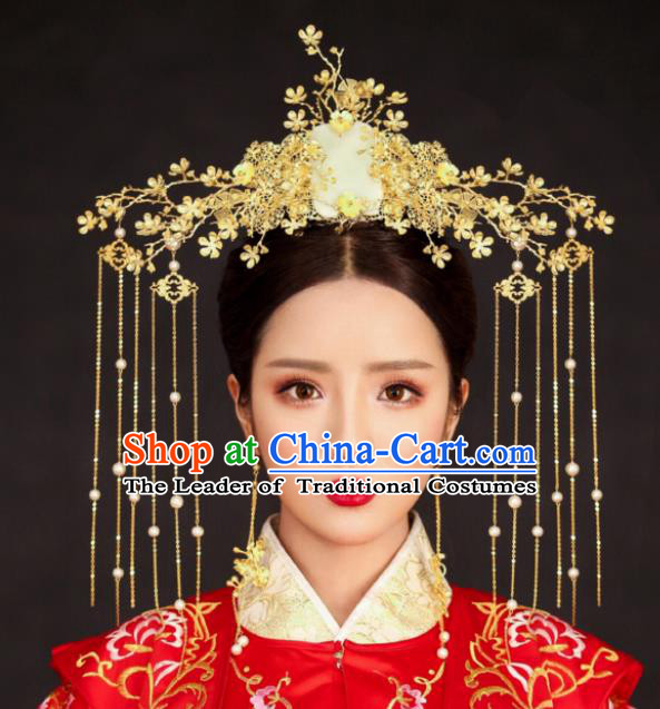 Chinese Traditional Palace Hair Accessories Wedding Jade Phoenix Coronet Ancient Xiuhe Suit Hairpins for Women