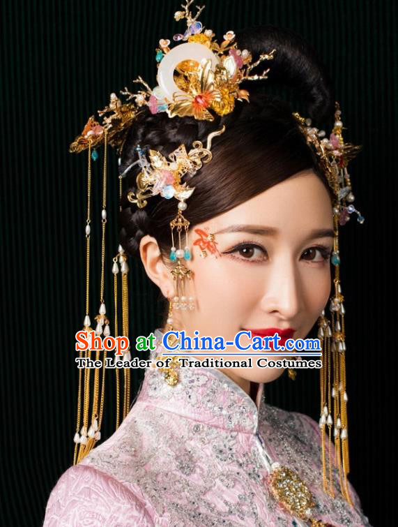 Chinese Traditional Palace Hair Accessories Tassel Step Shake Jade Phoenix Coronet Ancient Xiuhe Suit Hairpins for Women