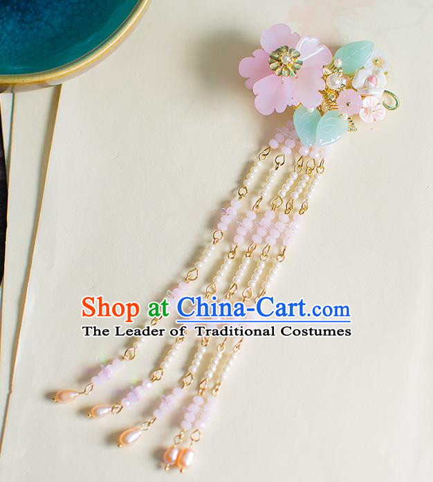 Chinese Traditional Palace Hair Accessories Flowers Tassel Hair Claws Ancient Xiuhe Suit Hairpins for Women