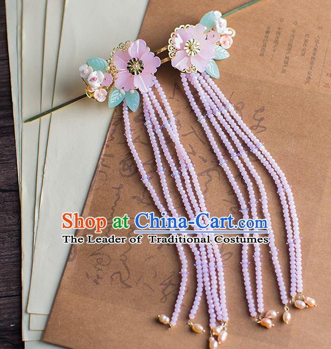 Chinese Traditional Palace Hair Accessories Flowers Hair Clips Ancient Xiuhe Suit Tassel Hairpins for Women