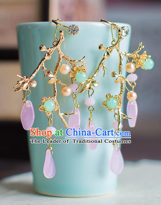 Chinese Ancient Bride Classical Accessories Golden Earrings Wedding Jewelry Hanfu Eardrop for Women