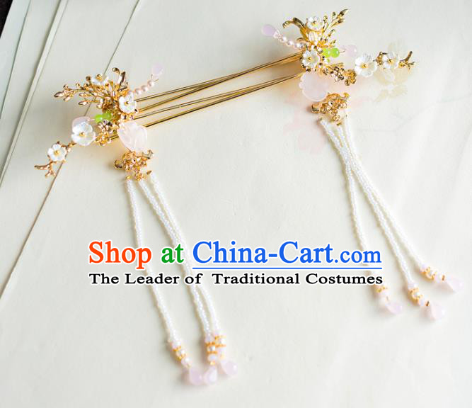 Chinese Traditional Palace Hair Accessories Shell Step Shake Ancient Xiuhe Suit Hairpins for Women