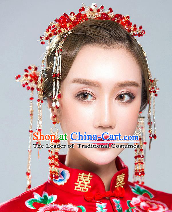 Chinese Traditional Palace Hair Accessories Xiuhe Suit Red Beads Phoenix Coronet Ancient Hairpins Complete Set for Women