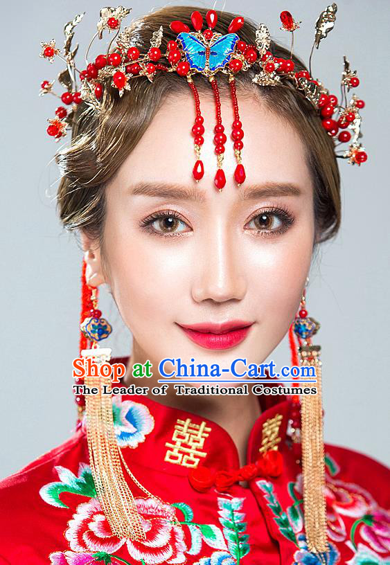 Chinese Traditional Palace Hair Accessories Xiuhe Suit Phoenix Coronet Ancient Blueing Butterfly Hairpins Complete Set for Women