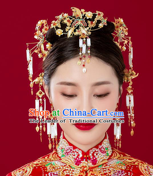 Chinese Traditional Palace Hair Accessories Xiuhe Suit Phoenix Coronet Ancient Jade Tassel Hairpins Complete Set for Women