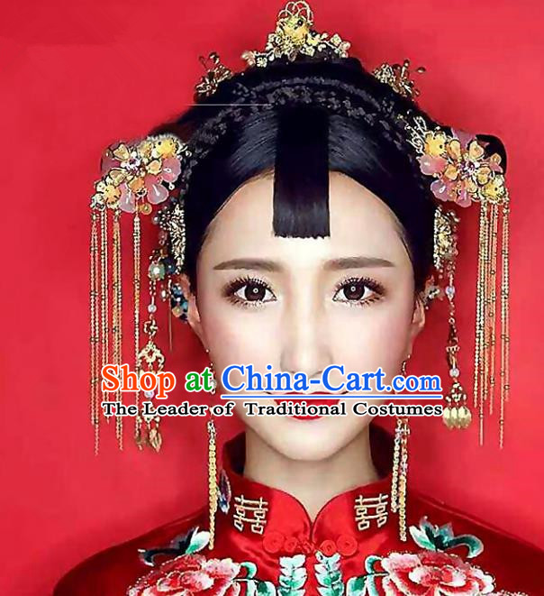 Chinese Traditional Palace Hair Accessories Xiuhe Suit Hair Clips Ancient Tassel Hairpins Complete Set for Women