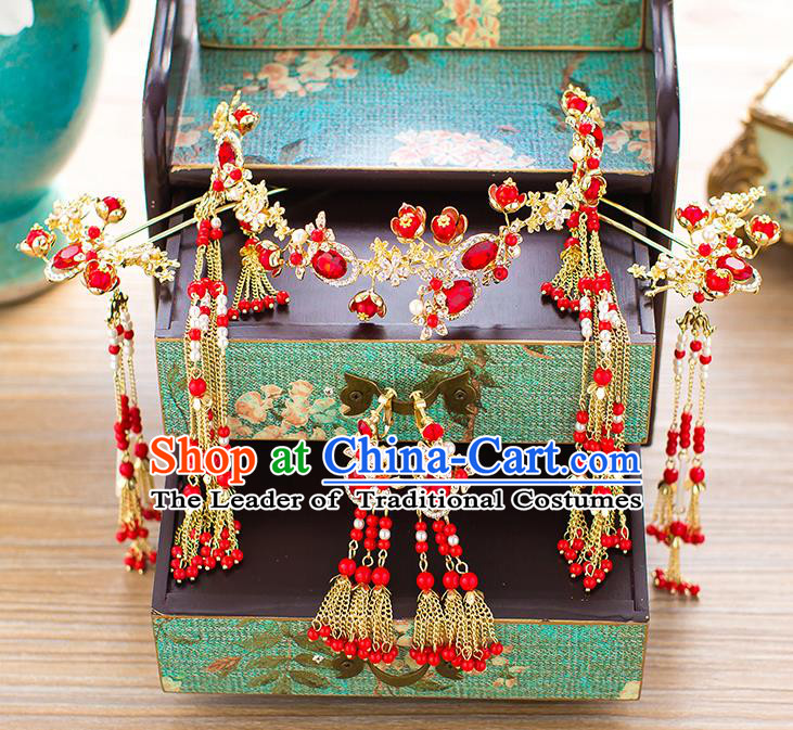 Chinese Traditional Palace Hair Accessories Red Crystal Phoenix Coronet Ancient Xiuhe Suit Tassel Hairpins Complete Set for Women