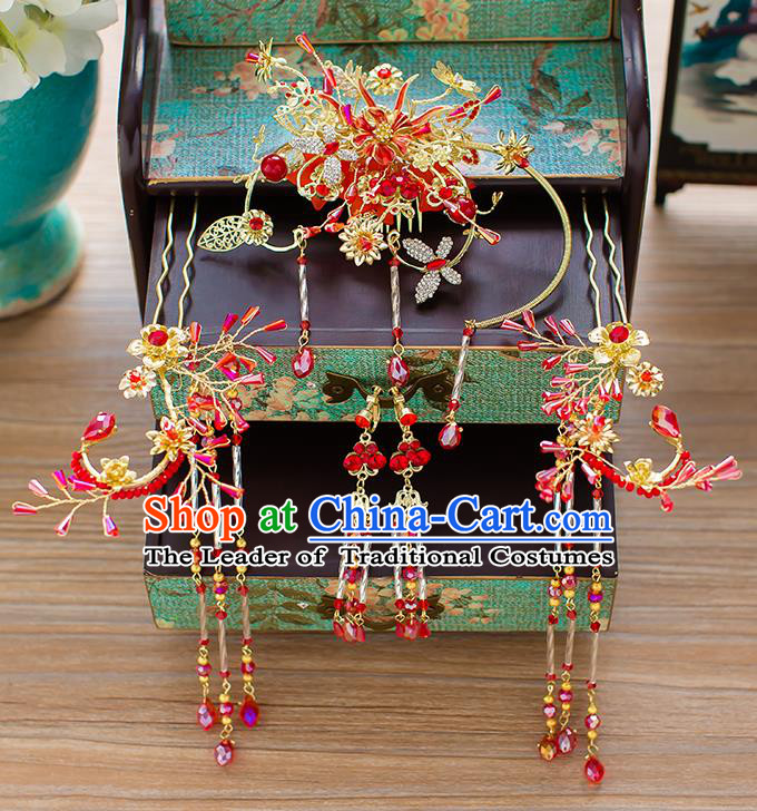 Chinese Traditional Palace Hair Accessories Red Tassel Phoenix Coronet Ancient Xiuhe Suit Hairpins Complete Set for Women