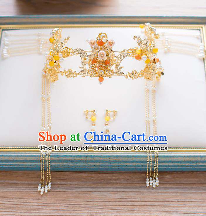 Chinese Traditional Palace Hair Accessories Xiuhe Suit Golden Butterfly Phoenix Coronet Ancient Hairpins Complete Set for Women