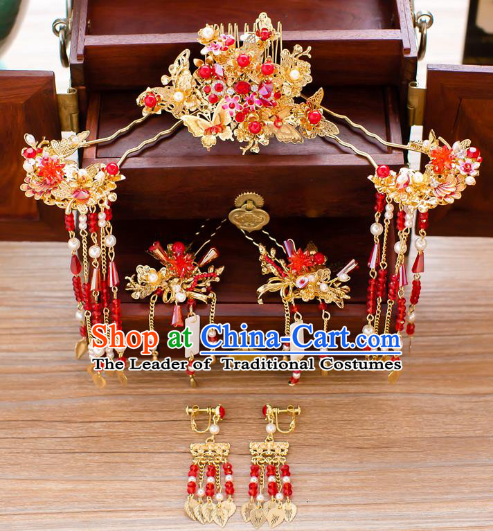 Chinese Traditional Palace Hair Accessories Xiuhe Suit Red Hair Comb Ancient Hairpins Complete Set for Women