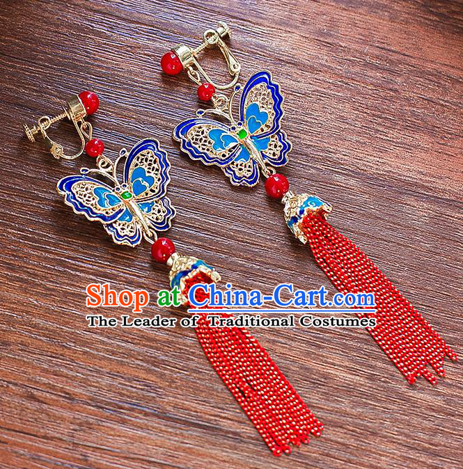 Chinese Ancient Bride Classical Accessories Earrings Wedding Jewelry Hanfu Blue Butterfly Eardrop for Women