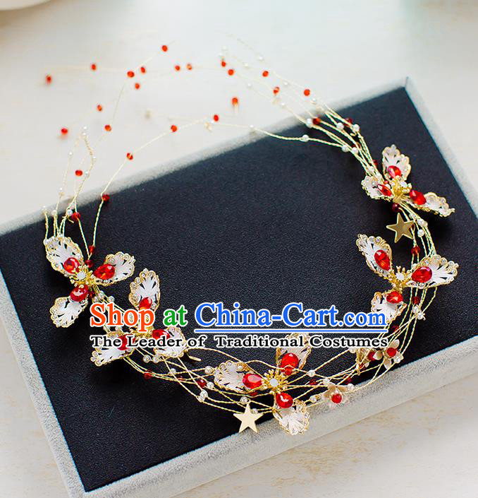 Top Classical Bride Hair Accessories Wedding Red Beads Hair Clasp Headwear for Women