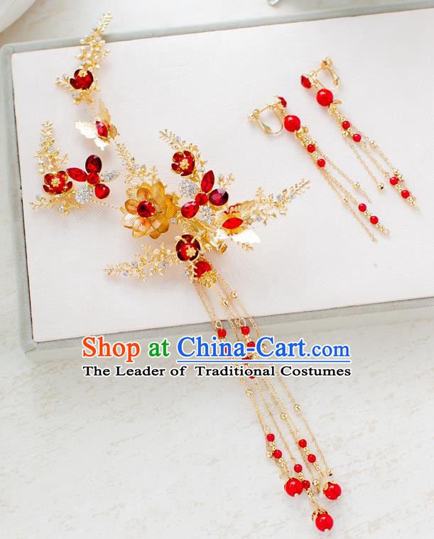 Top Classical Bride Hair Accessories Wedding Red Beads Hair Stick Headwear for Women