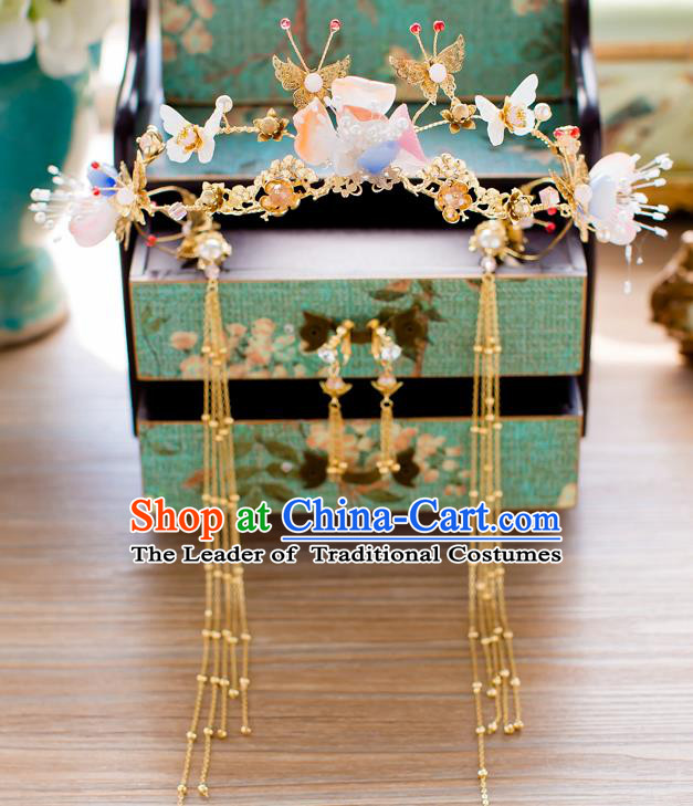 Chinese Traditional Palace Hair Accessories Ancient Xiuhe Suit Butterfly Phoenix Coronet Hairpins for Women