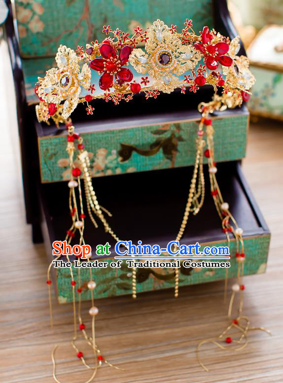 Chinese Traditional Palace Hair Accessories Ancient Xiuhe Suit Phoenix Coronet Hairpins for Women