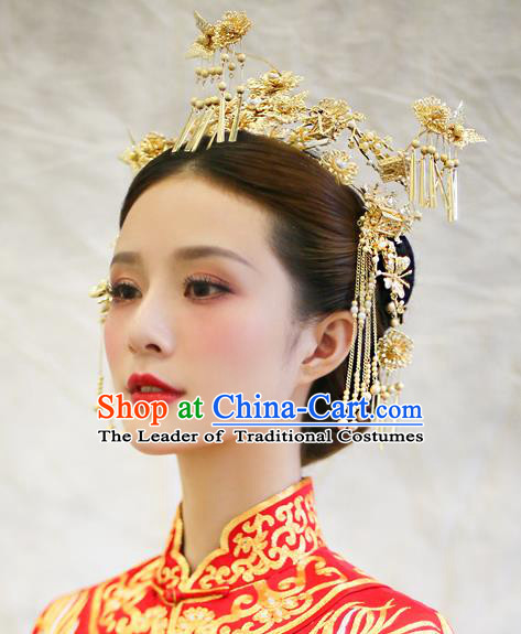 Chinese Traditional Palace Hair Accessories Ancient Hairpins Tassel Phoenix Coronet Xiuhe Suit Hair Clips Complete Set for Women