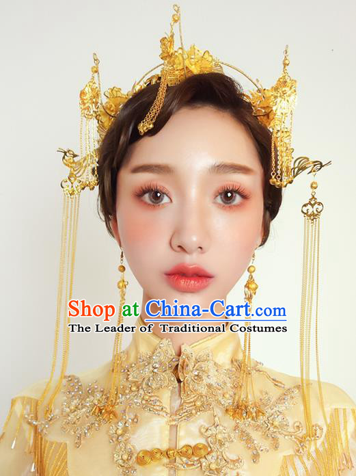 Chinese Traditional Palace Hair Accessories Ancient Xiuhe Suit Hairpins Phoenix Coronet for Women