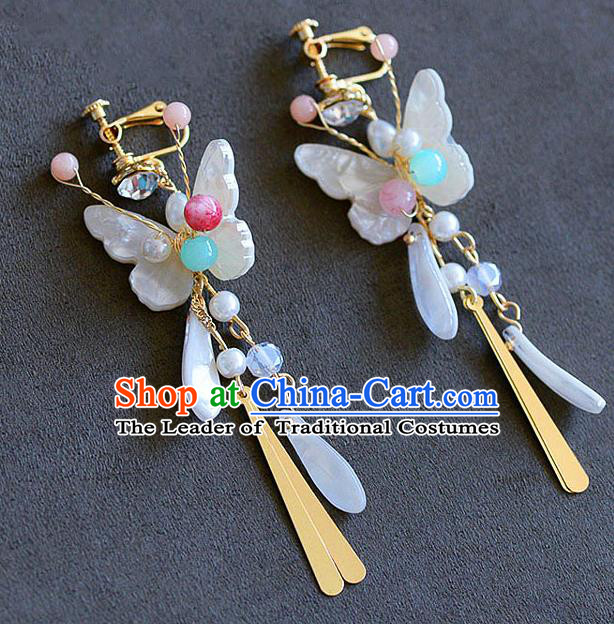 Chinese Ancient Bride Classical Accessories Earrings Wedding Jewelry Hanfu Shell Butterfly Eardrop for Women