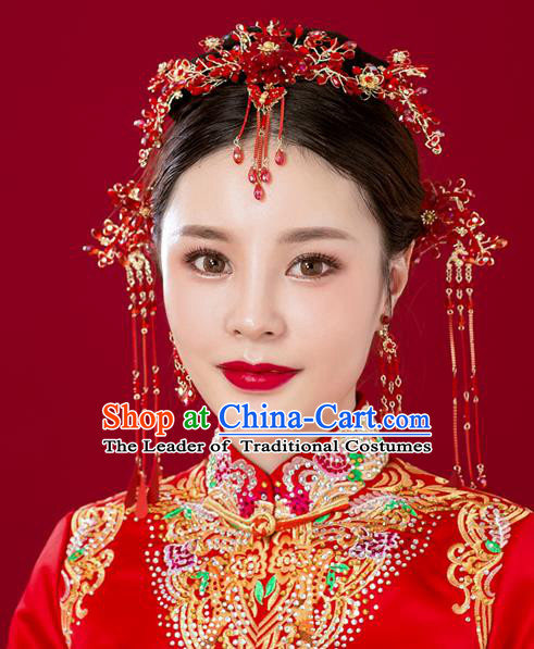 Chinese Traditional Palace Hair Accessories Red Phoenix Coronet Ancient Hairpins Xiuhe Suit Tassel Step Shake Complete Set for Women