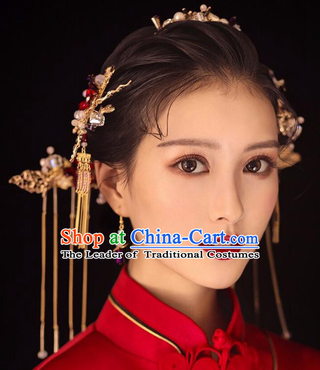 Chinese Traditional Palace Hair Accessories Ancient Hairpins Xiuhe Suit Tassel Step Shake Complete Set for Women