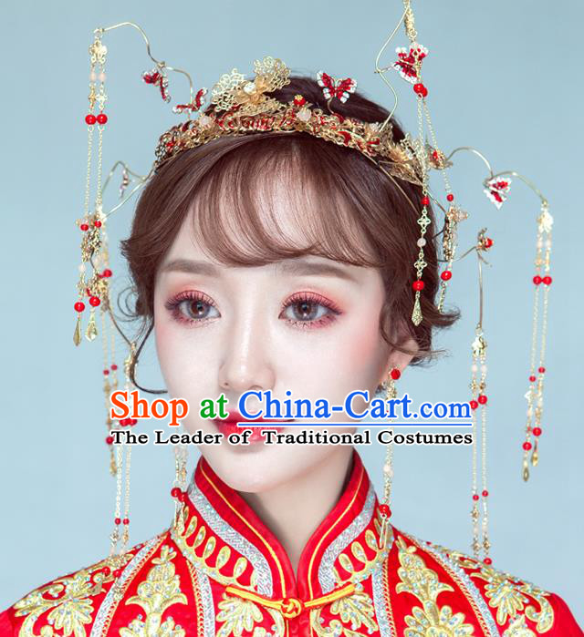 Chinese Traditional Palace Hair Accessories Ancient Xiuhe Suit Butterfly Hairpins Phoenix Coronet for Women