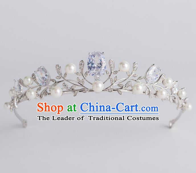 Baroque Princess Pearls Royal Crown Bride Classical Hair Accessories Wedding Zircon Imperial Crown for Women