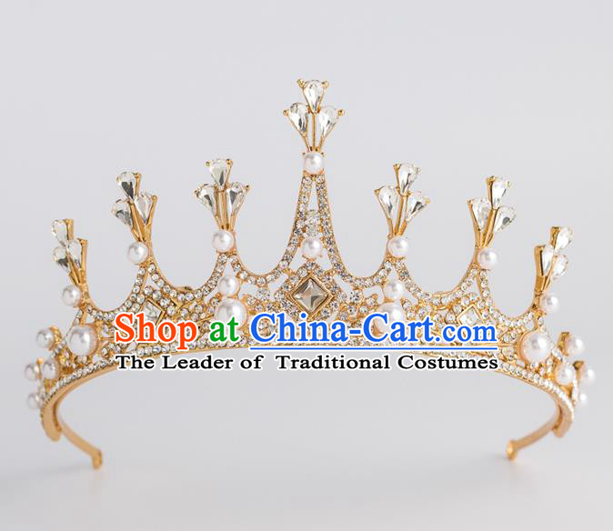 Baroque Princess Golden Royal Crown Bride Classical Hair Accessories Wedding Imperial Crown for Women