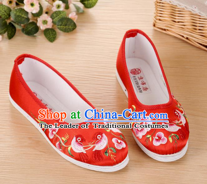 Chinese Traditional Embroidered Shoes Ancient Wedding Red Blood Stained Shoes for Women