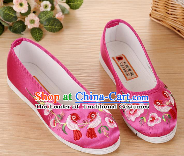 Chinese Traditional Embroidered Shoes Ancient Rosy Blood Stained Shoes for Women