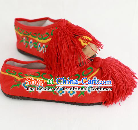 Chinese Traditional Embroidered Shoes Ancient Beijing Opera Red Blood Stained Shoes for Women
