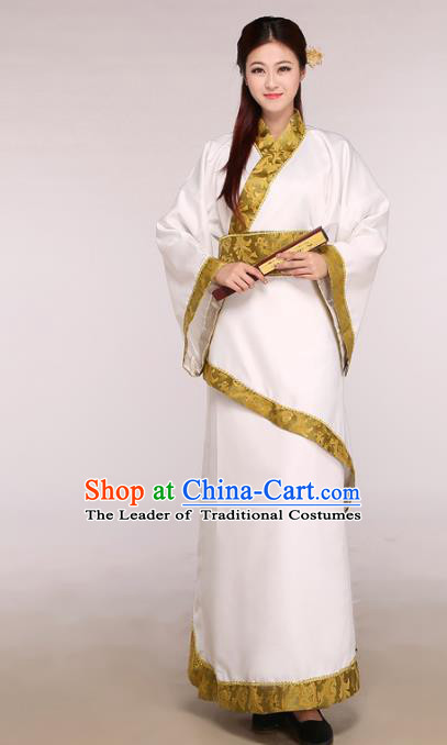 Chinese Traditional Hanfu Dress White Curving-front Robe Ancient Han Dynasty Princess Costume for Women