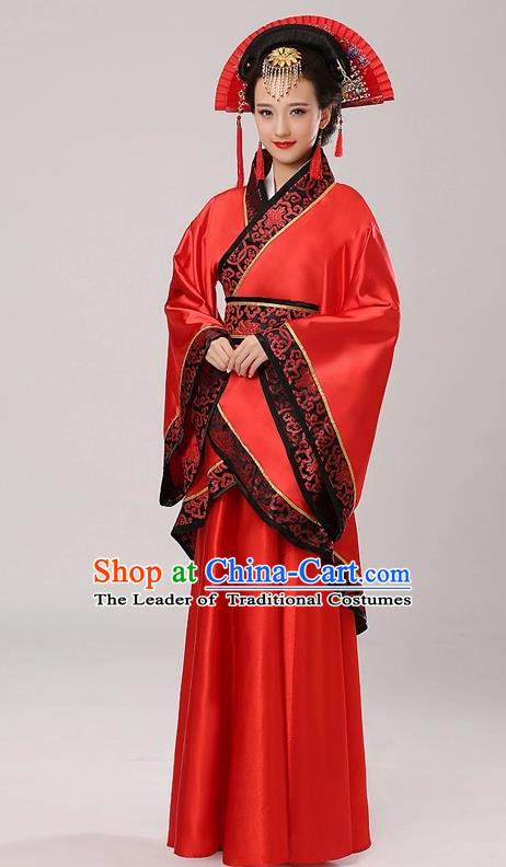 Chinese Traditional Queen Hanfu Dress Red Curving-front Robe Ancient Han Dynasty Princess Costume for Women