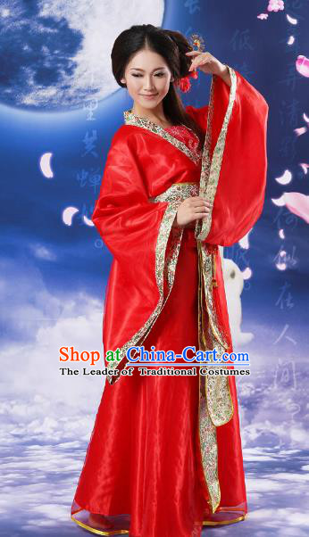 Chinese Traditional Fairy Red Hanfu Dress Ancient Tang Dynasty Imperial Concubine Costume for Women