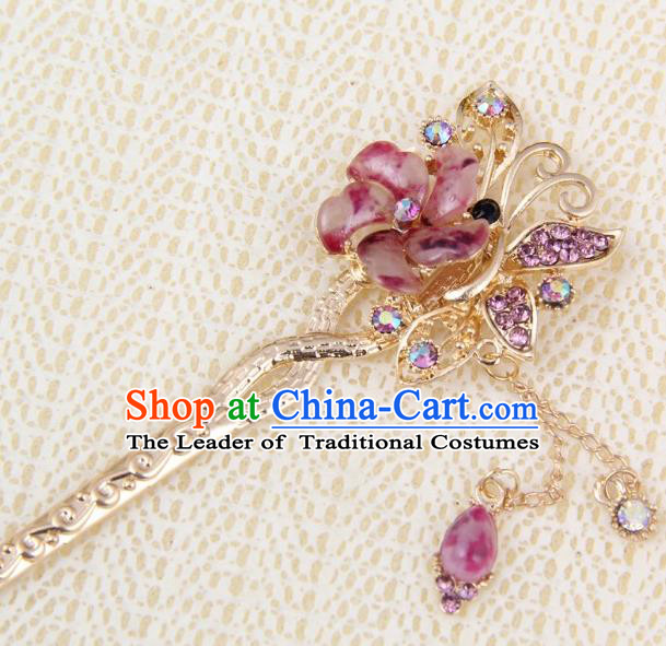 Chinese Traditional Palace Hair Accessories Ancient Purple Flowers Hairpins Crystal Hair Clips for Women