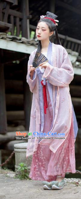 Chinese Ancient Song Dynasty Young Lady Costume Traditional Hanfu Dress for Women