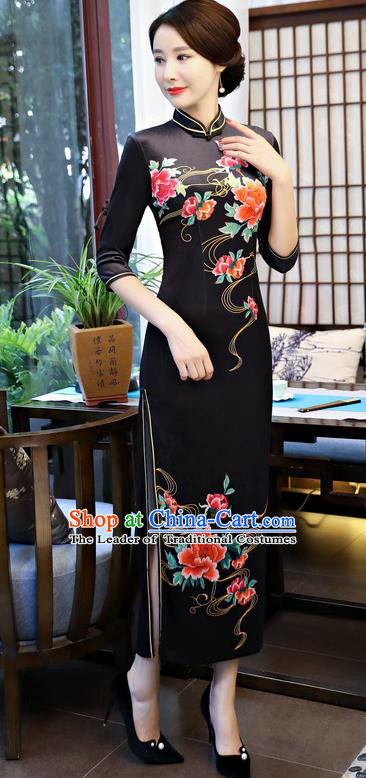 Top Grade Chinese Black Qipao Dress National Costume Traditional Mandarin Cheongsam for Women