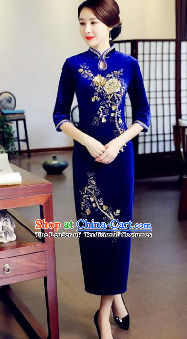 Top Grade Chinese Beading Embroidery Blue Qipao Dress National Costume Traditional Mandarin Cheongsam for Women