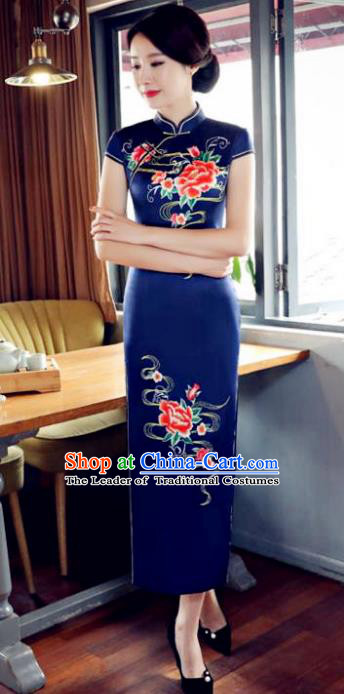 Top Grade Chinese Printing Peony Navy Silk Qipao Dress National Costume Traditional Mandarin Cheongsam for Women
