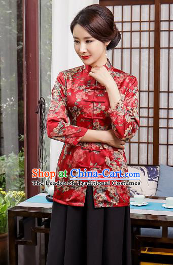 Top Grade Chinese National Costume Printing Red Qipao Blouse Traditional Tang Suit Coats for Women