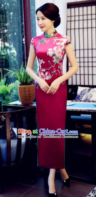 Top Grade Chinese National Costume Printing Flowers Qipao Dress Traditional Tang Suit Cheongsam for Women