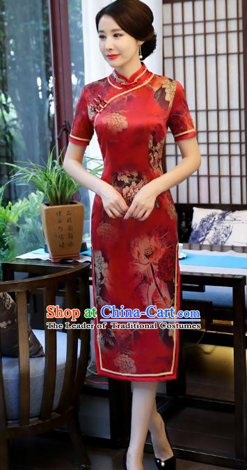 Top Grade Chinese National Costume Printing Lotus Red Silk Qipao Dress Traditional Tang Suit Cheongsam for Women