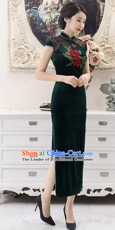 Top Grade Chinese National Costume Green Pleuche Qipao Dress Traditional Lace Cheongsam for Women