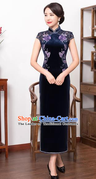 Top Grade Chinese National Costume Navy Pleuche Qipao Dress Traditional Lace Cheongsam for Women