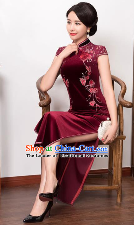 Top Grade Chinese National Costume Wine Red Pleuche Qipao Dress Traditional Lace Cheongsam for Women