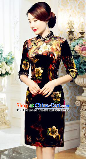 Top Grade Chinese National Costume Printing Qipao Dress Traditional Lace Cheongsam for Women