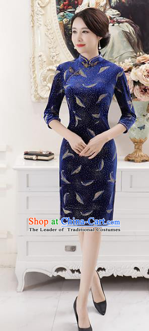 Top Grade Chinese National Costume Royalblue Qipao Dress Traditional Lace Cheongsam for Women