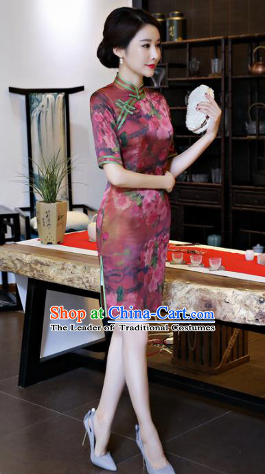 Chinese National Costume Handmade Printing Amaranth Silk Qipao Dress Traditional Cheongsam for Women