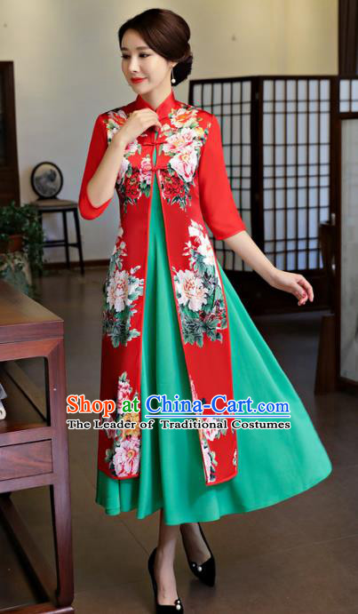 Chinese National Costume Handmade Printing Peony Two-pieces Red Qipao Dress Traditional Cheongsam for Women