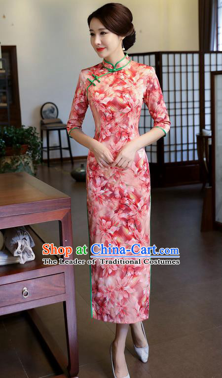 Chinese National Costume Handmade Printing Pink Silk Qipao Dress Traditional Cheongsam for Women