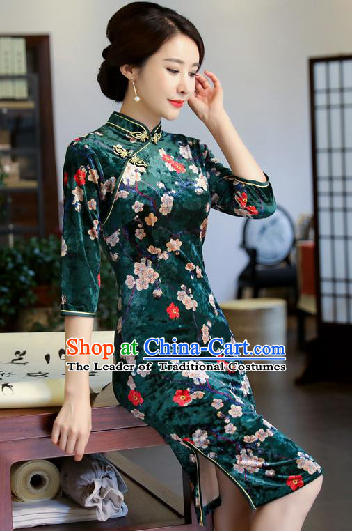 Chinese National Costume Handmade Printing Plum Blossom Green Velvet Qipao Dress Traditional Cheongsam for Women